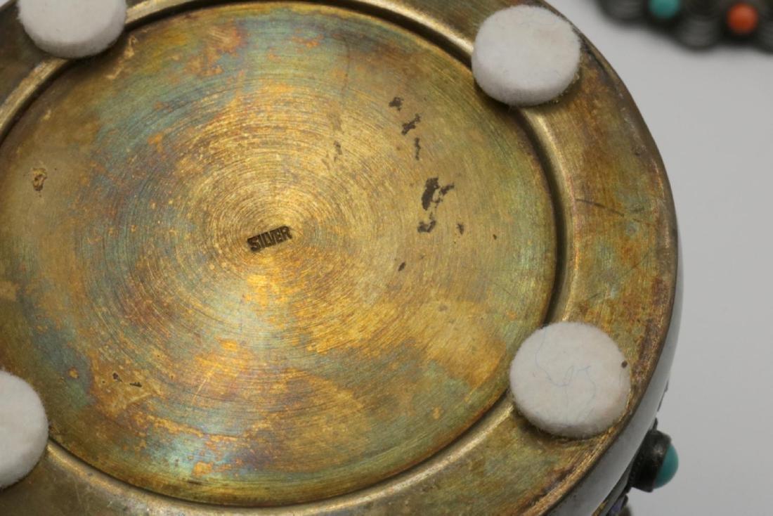 Rare Chinese Silver, Jade, Enamel Jar - 6