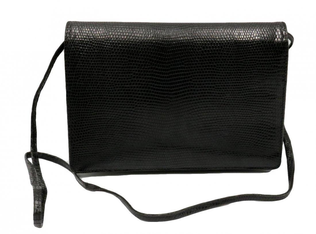 Bottega Veneta Black Lizard Clutch