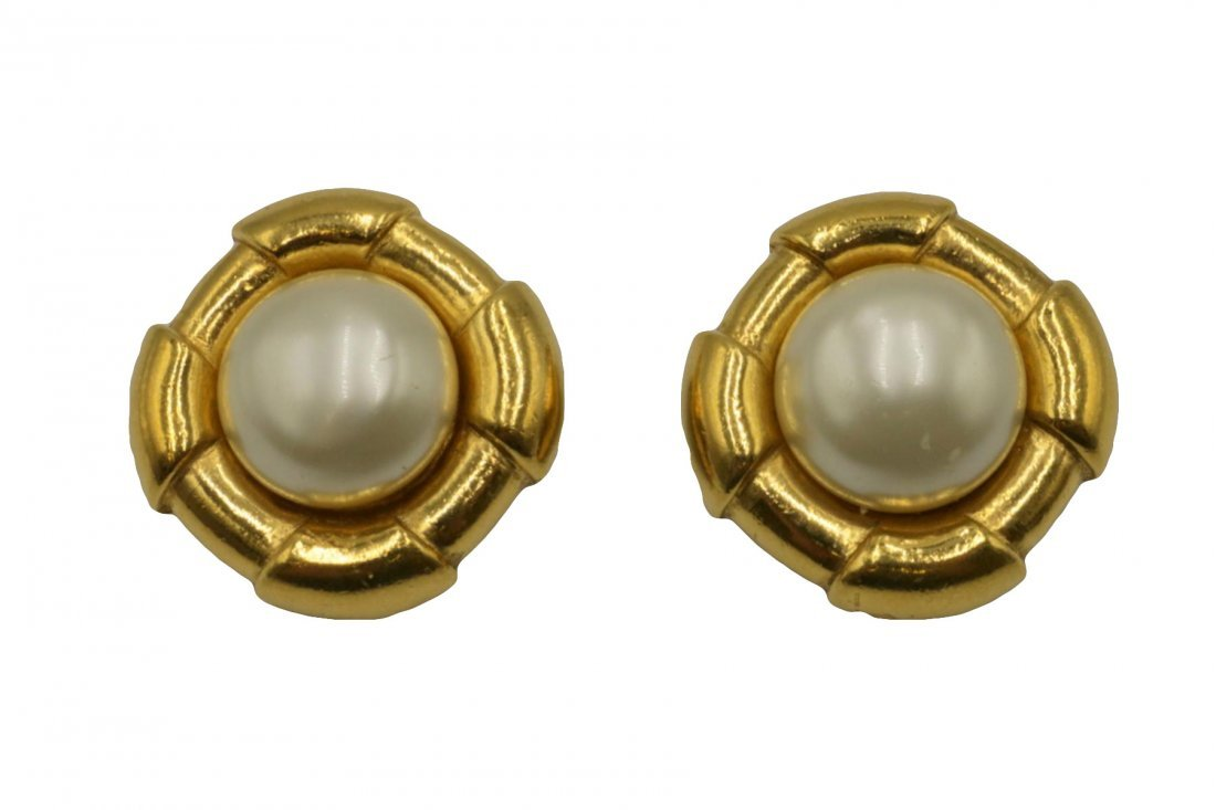Authentic Chanel Pearl Gold Tone Earrings