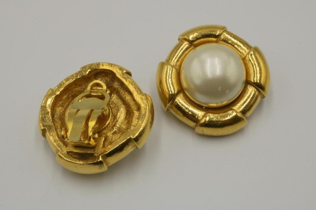 Authentic Chanel Pearl Gold Tone Earrings - 2