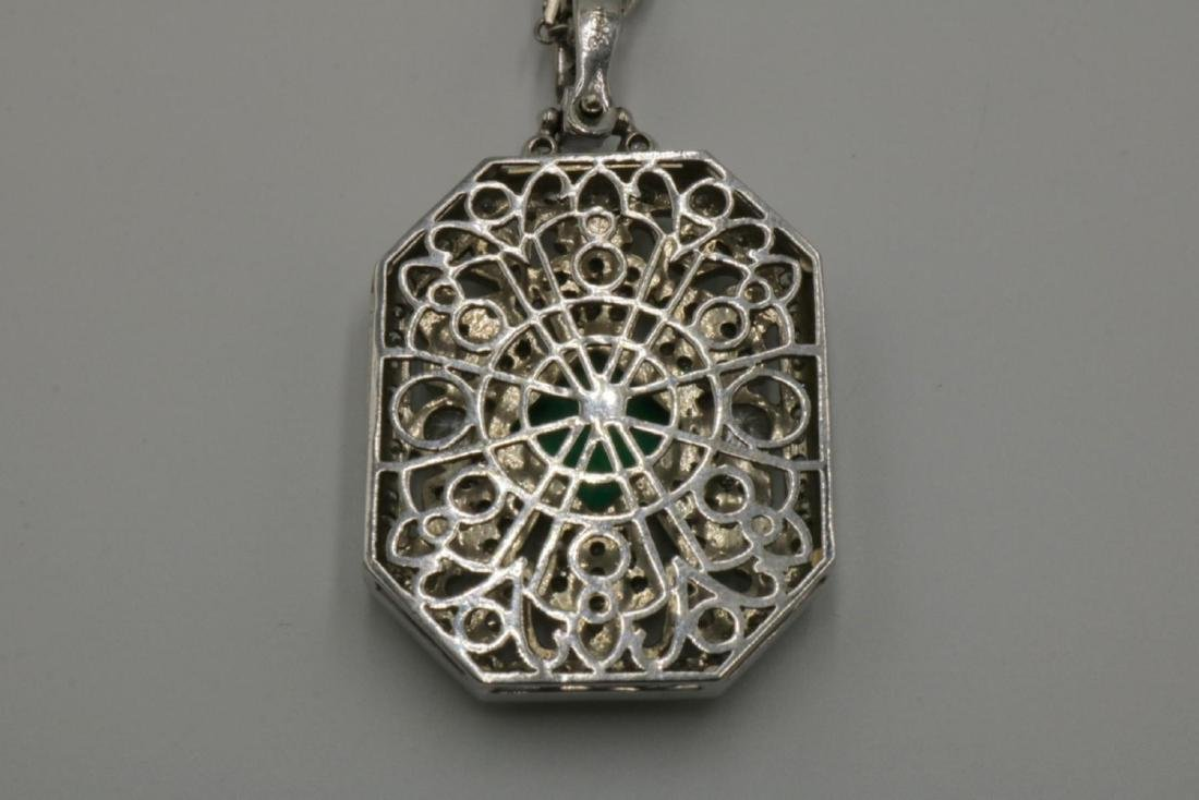 Platinum 4.04ct. Emerald & 4.63ct. Diamond Pendant w/ - 4