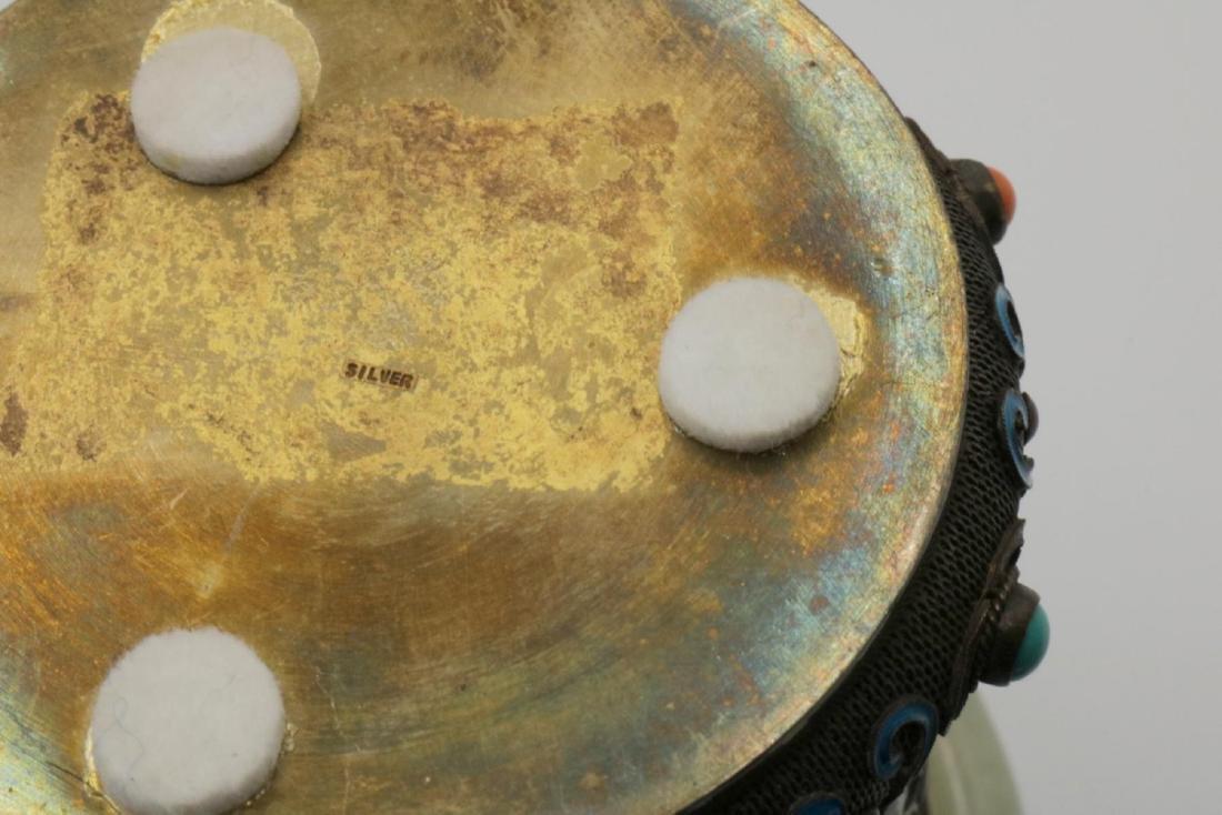 Chinese Silver, Jade, Enamel Cup - 4