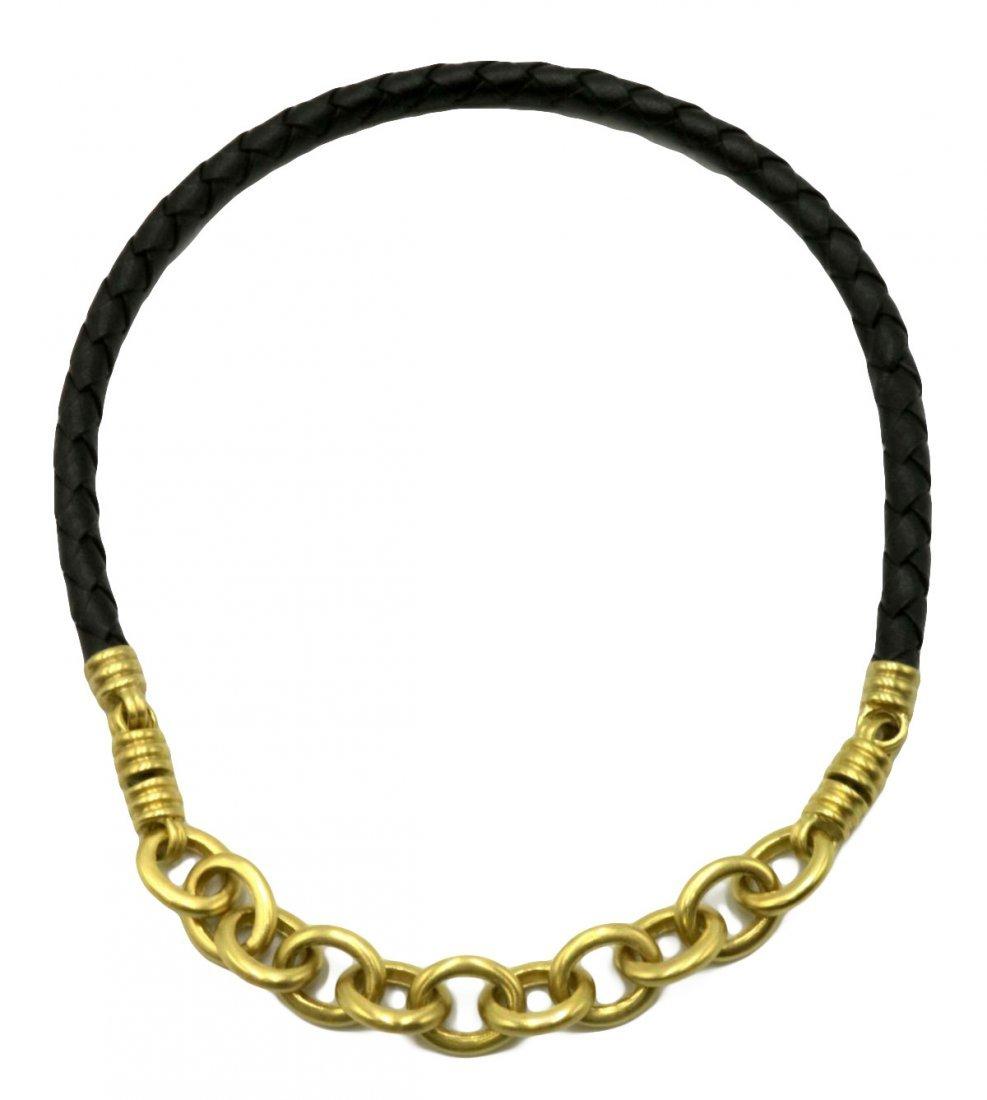 Judith Ripka 18Kt & Black Leather Necklace
