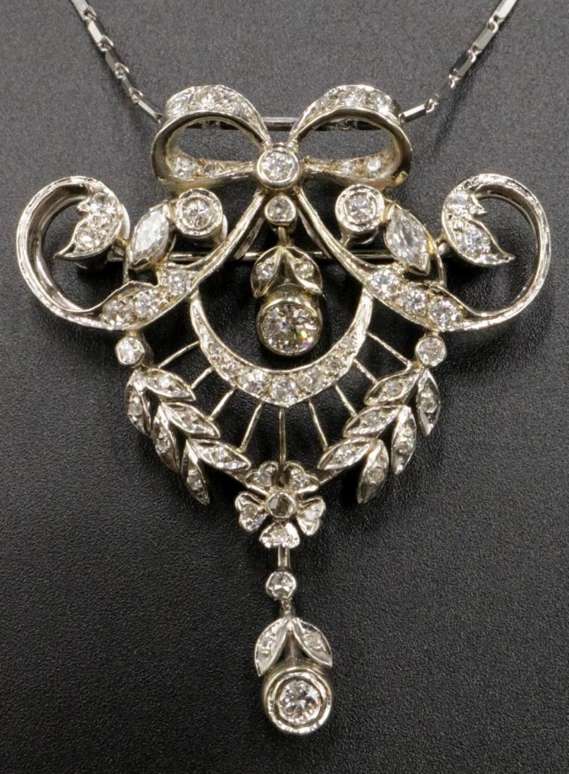 Edwardian 14Kt & Diamond Pendant/ Brooch w/ Necklace