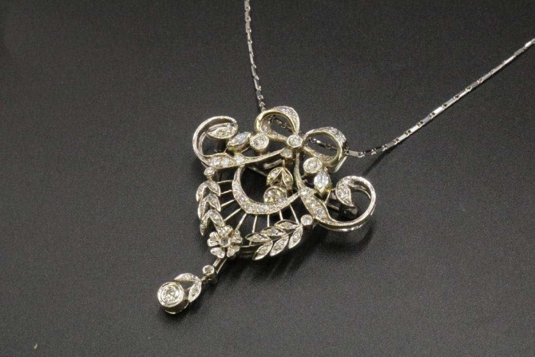 Edwardian 14Kt & Diamond Pendant/ Brooch w/ Necklace - 2