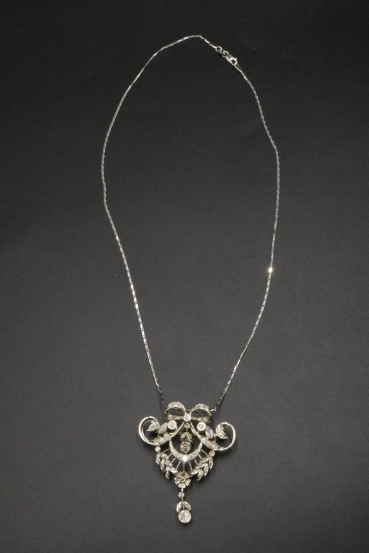 Edwardian 14Kt & Diamond Pendant/ Brooch w/ Necklace - 4