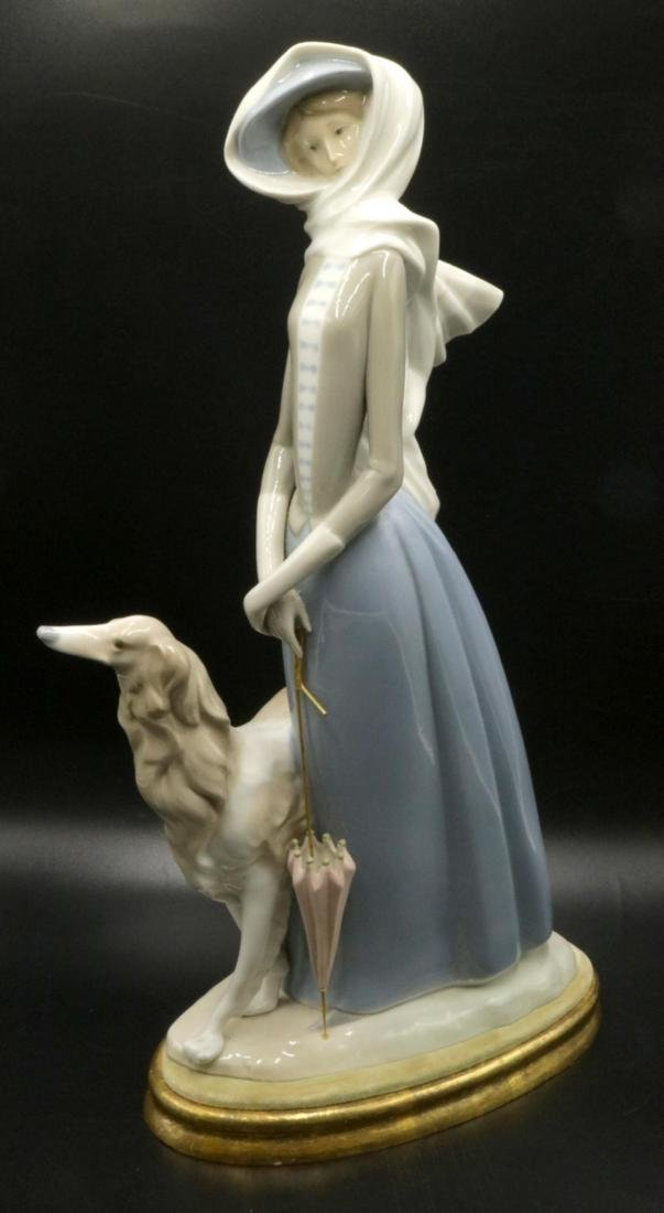 """Lladro """"Lady with Grey Hound"""" #4594 Porcelain Group"""