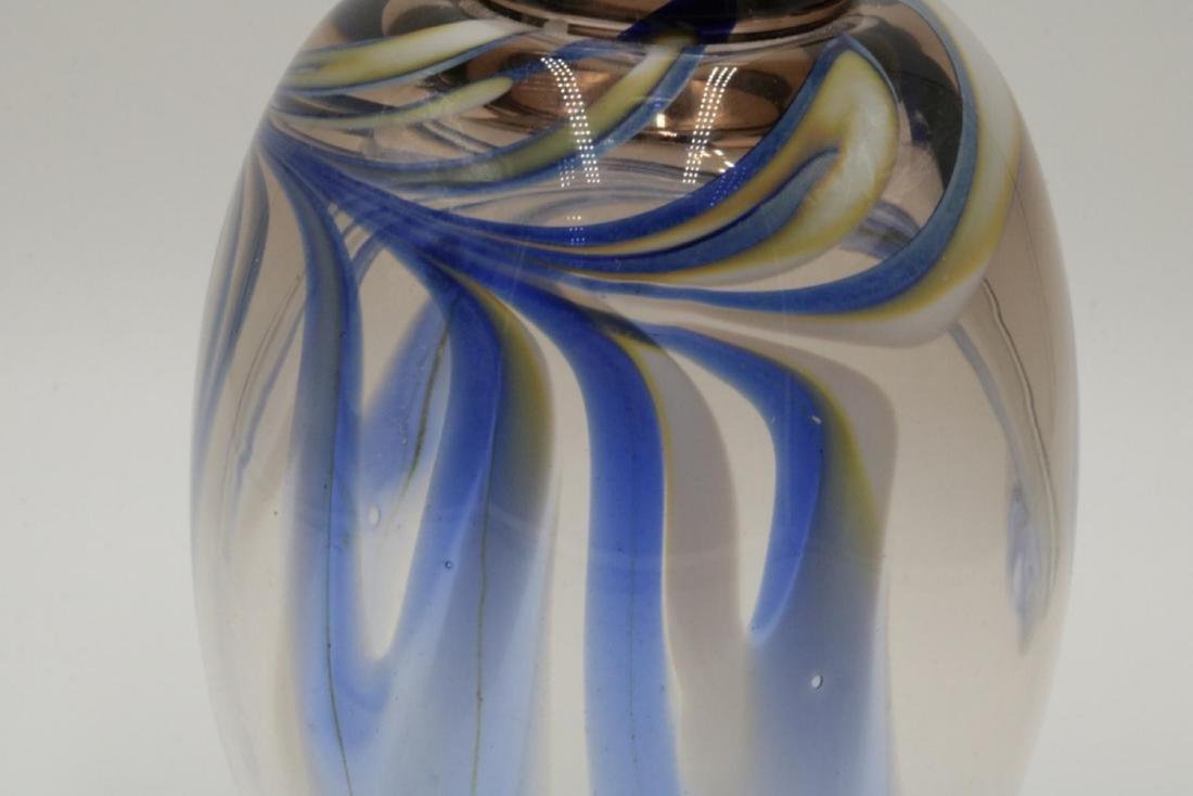 Signed Studio Art Glass Vase - 3