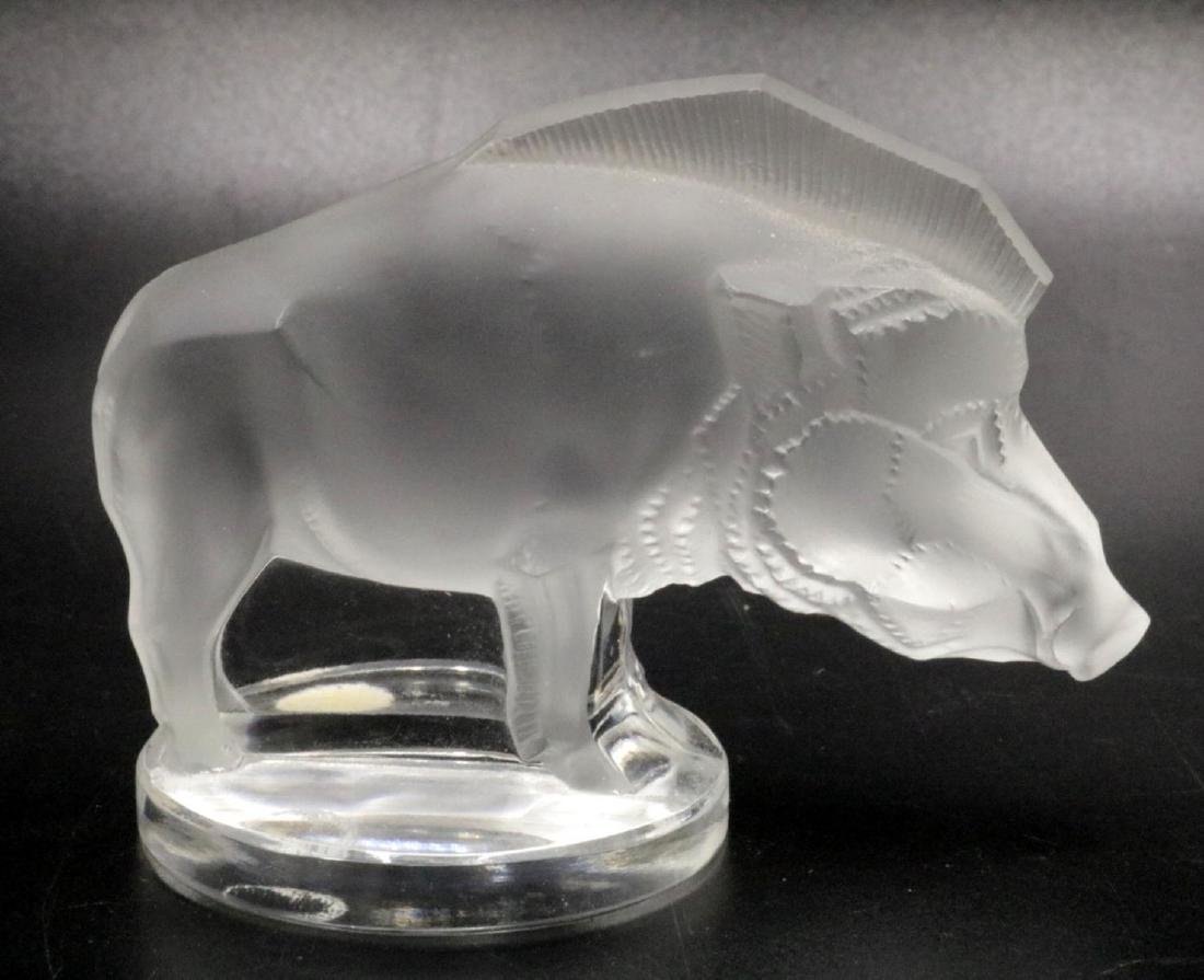 Lalique France Crystal Boar Paperweight