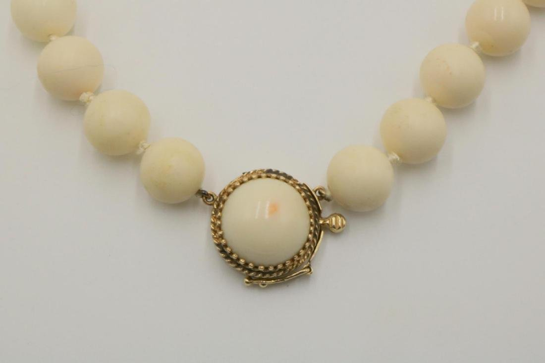 14Kt Beaded Angel Skin Coral Necklace