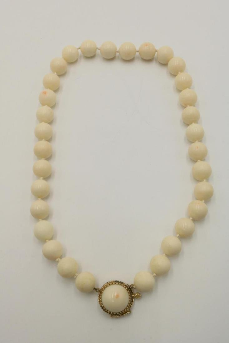 14Kt Beaded Angel Skin Coral Necklace - 2