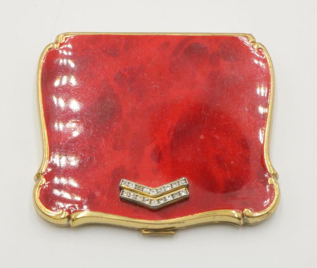 Vintage 40's Red Enamel Compact