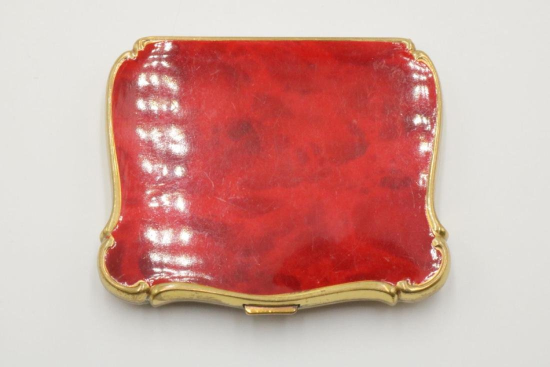 Vintage 40's Red Enamel Compact - 2