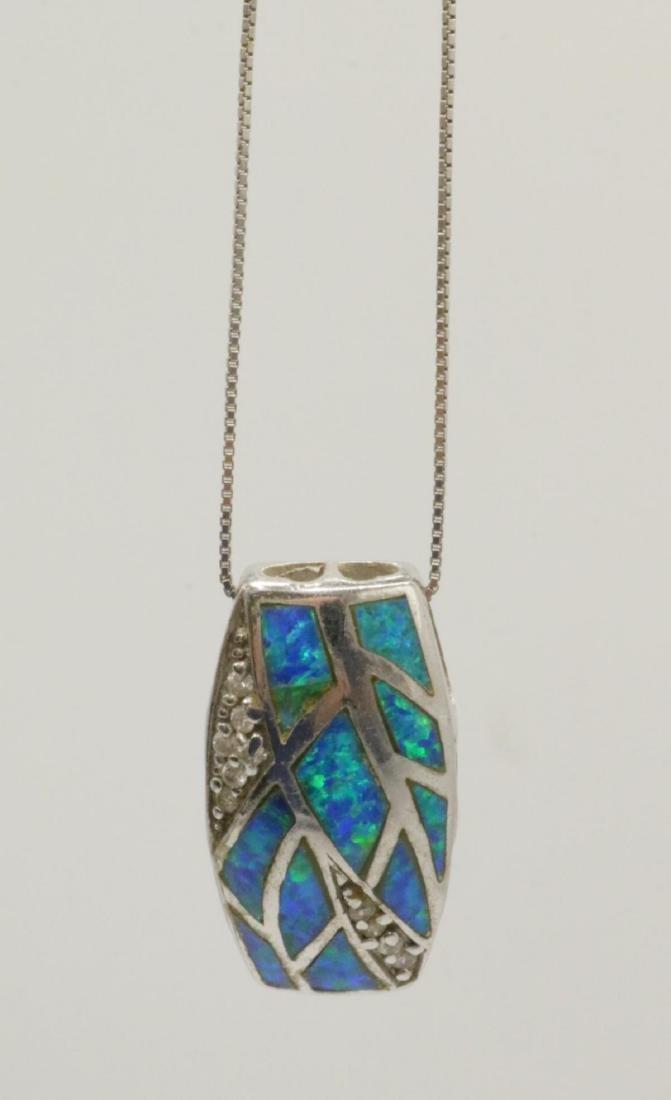 Sterling & Opal Pendant w/ Necklace