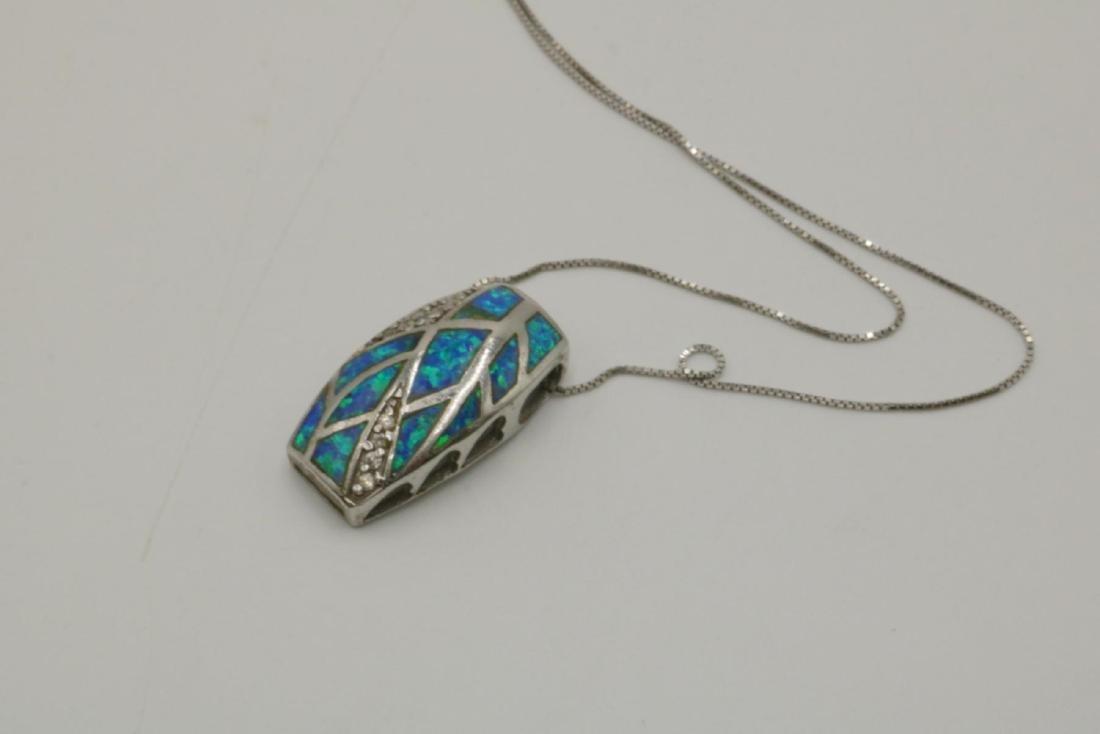 Sterling & Opal Pendant w/ Necklace - 2