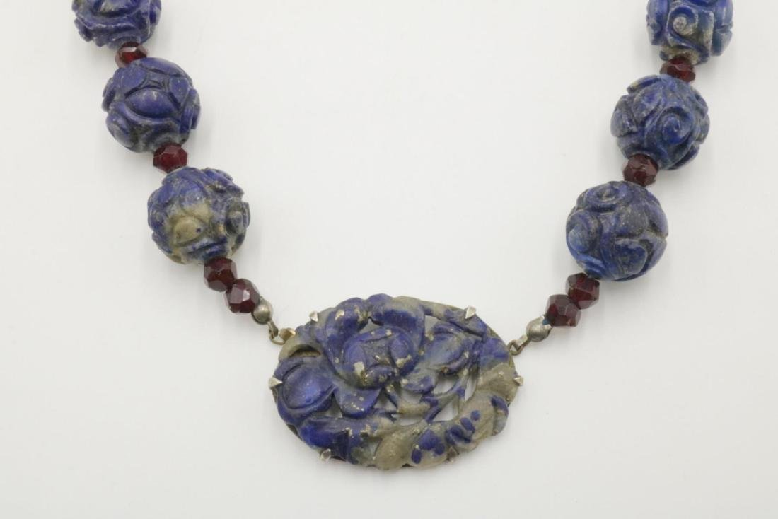 Sterling Silver & Carved Beaded Lapis Necklace