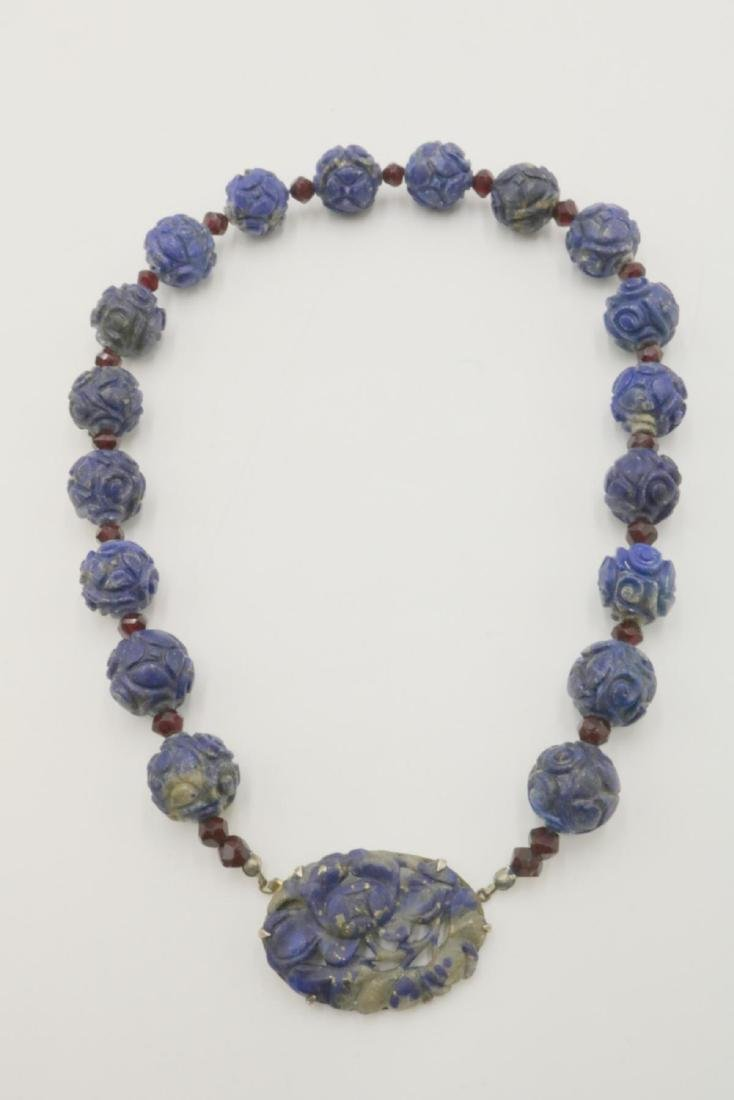 Sterling Silver & Carved Beaded Lapis Necklace - 2