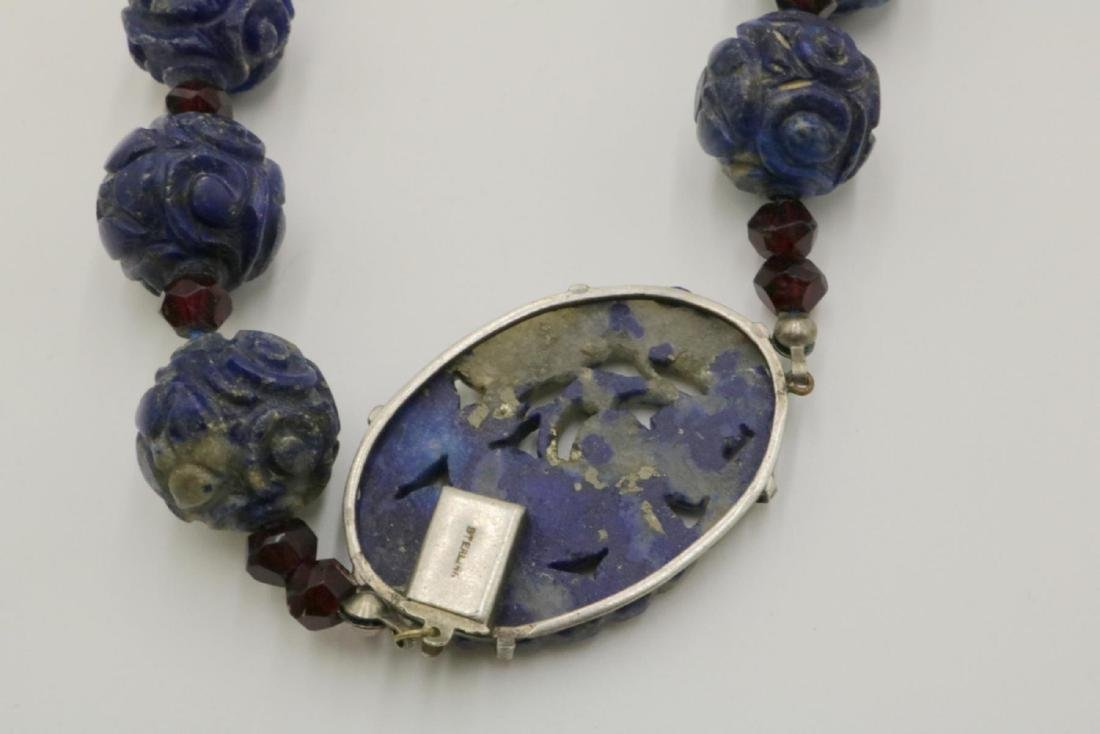 Sterling Silver & Carved Beaded Lapis Necklace - 3
