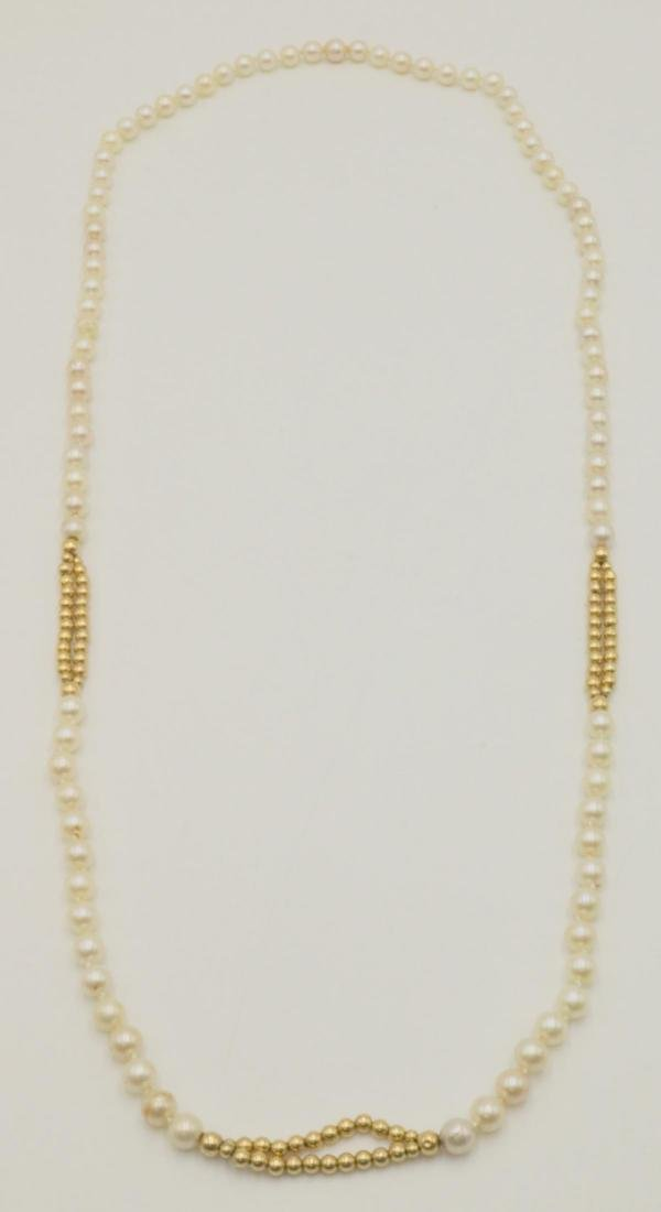 14Kt & Pearl Beaded Necklace