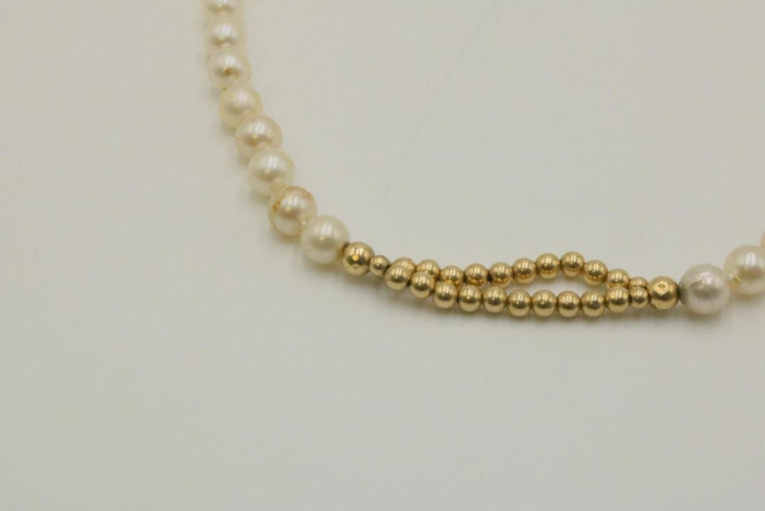 14Kt & Pearl Beaded Necklace - 2