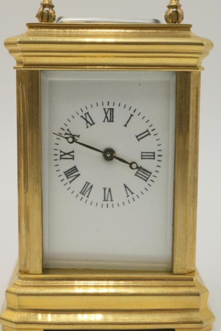 Vintage Miniature Brass Key Wind Carriage Clock - 2