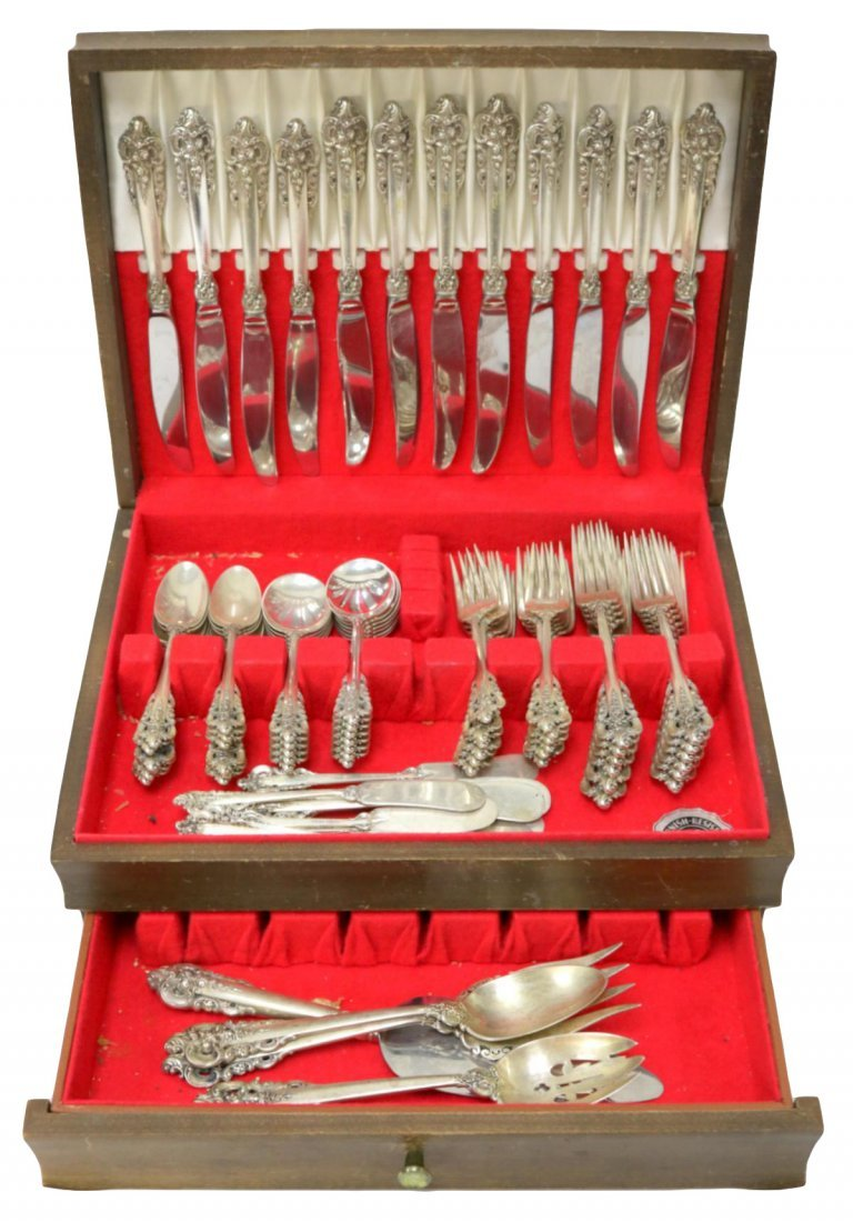 "76 Pc. Wallace ""Grande Baroque"" Sterling Flatware Set"
