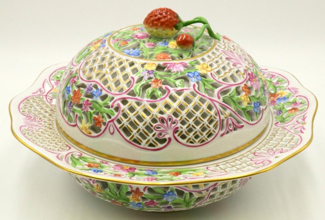 Large Herend Porcelain Covered Serving Dish