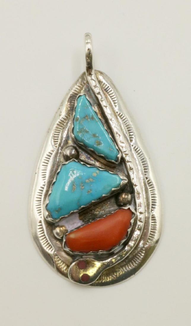 Zuni Effie C Turquoise & Coral Sterling Pendant