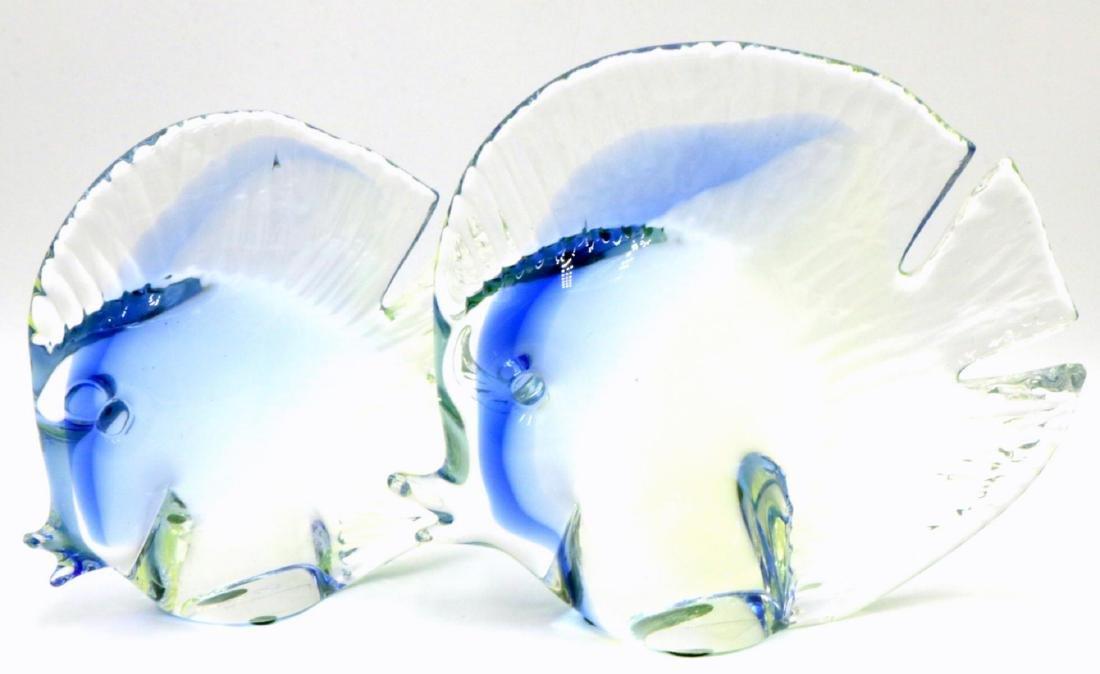Signed Pair of Italian Murano Art Glass Fish