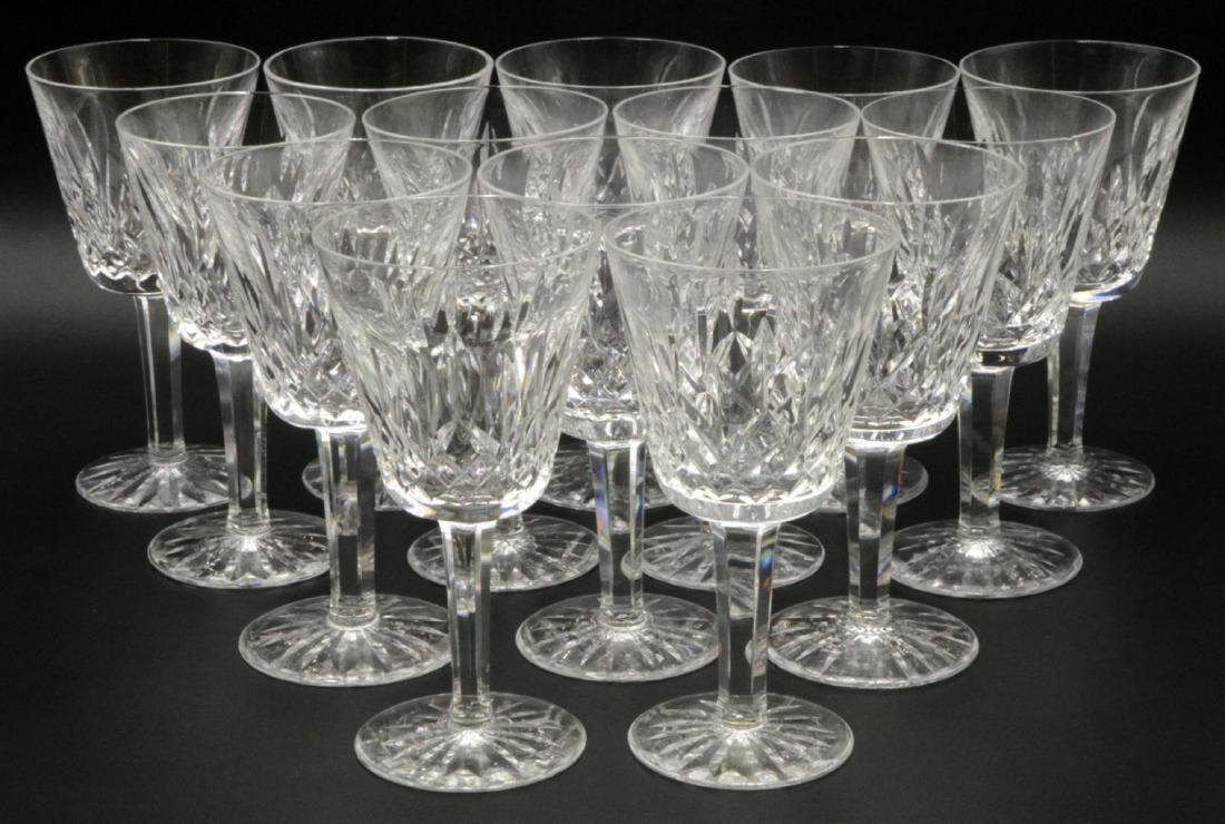 """14 Pc. Waterford """"Lismore"""" Crystal White Wines"""