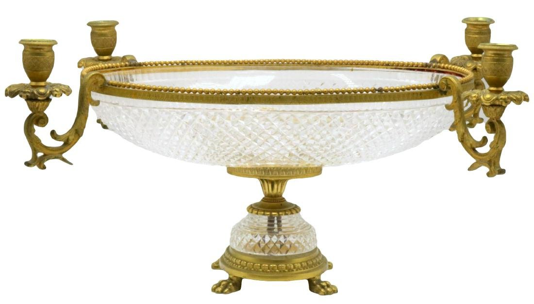19th C. French Dore Bronze & Crystal Centerpiece