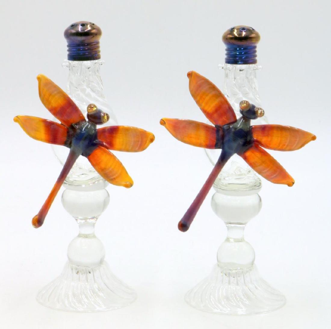 Signed Studio Art Glass Dragonfly Salt & Pepper Shakers
