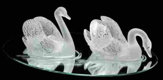 "Lalique ""Miroir Cygnes"" Swans Crystal Centerpiece"