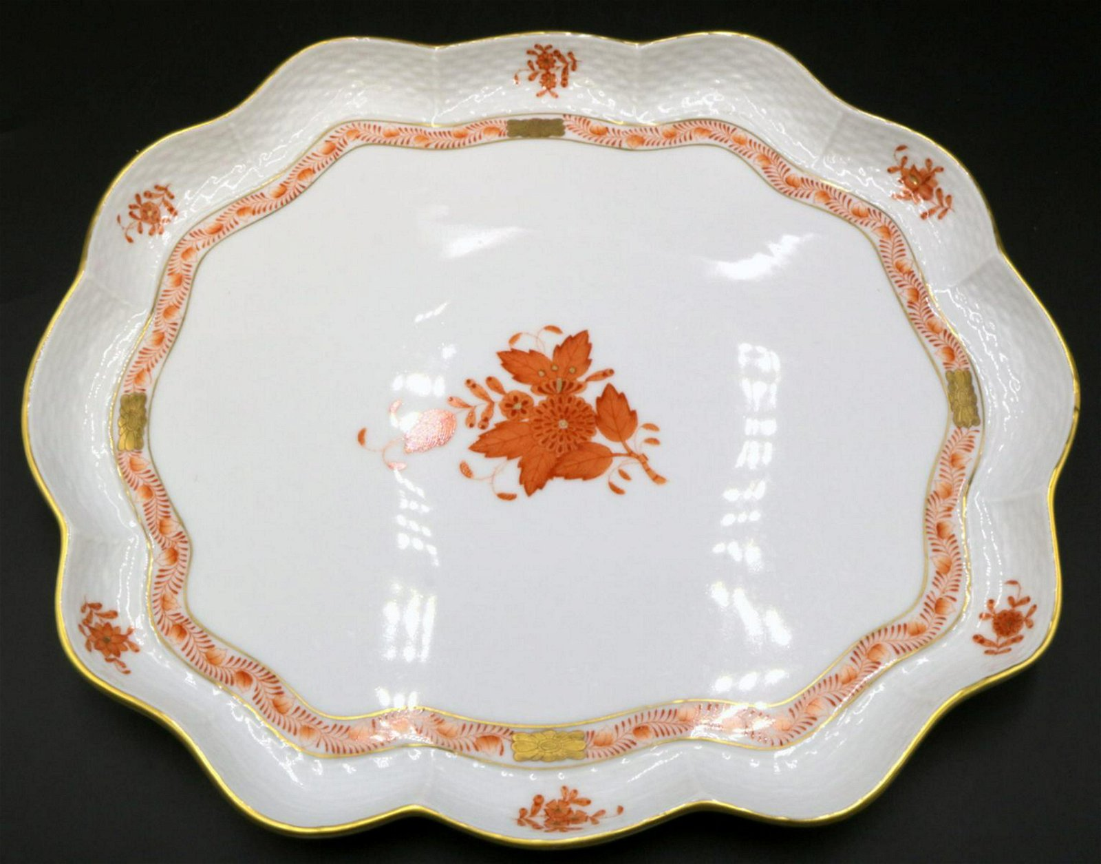"""Herend """"Chinese Orange Bouquet"""" Porcelain Serving Tray"""