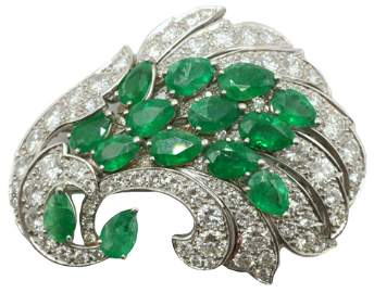 Platinum 7.42ct. Emerald & 7.52ct. Diamond Brooch