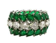 Platinum 8.64ct. Emerald & 5.49ct. Diamond Band