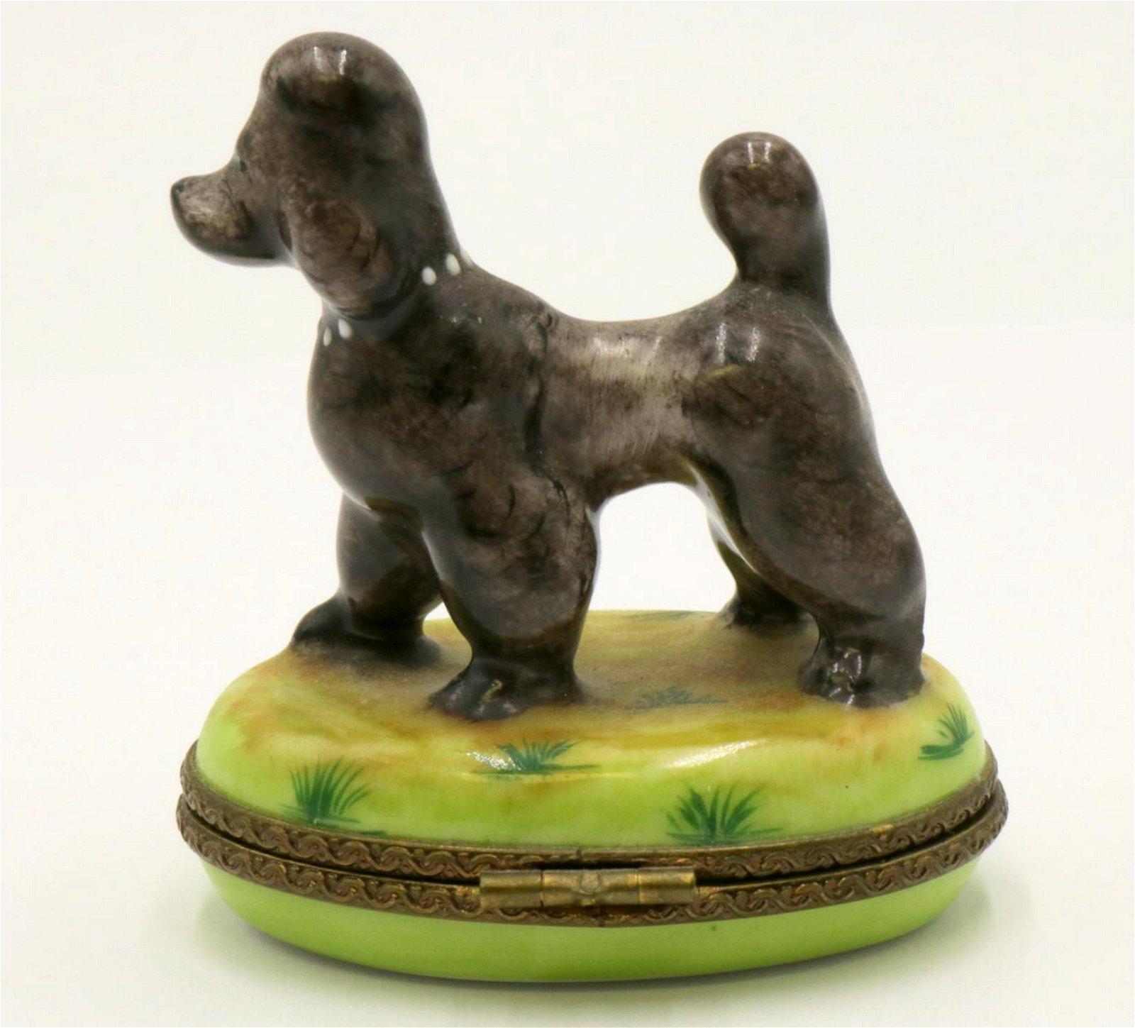 Limoges French Porcelain Dog Pill Box
