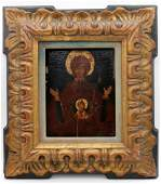 19th C Russian Hand Painted Wooden Icon