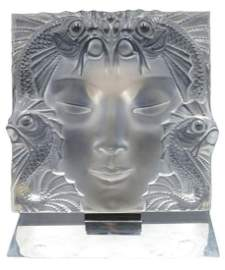 "Lalique ""Masque de Femme"" Crystal Panel"