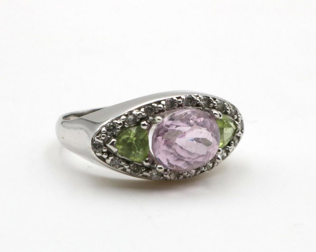 14Kt Pink & Green Tourmaline Diamond Ring
