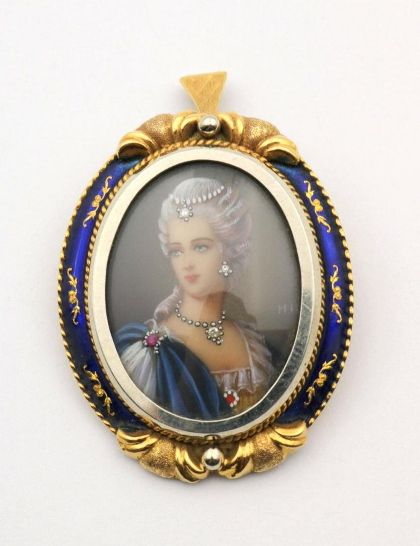 Vintage Corletto 18Kt & Hand Painted Portrait Brooch