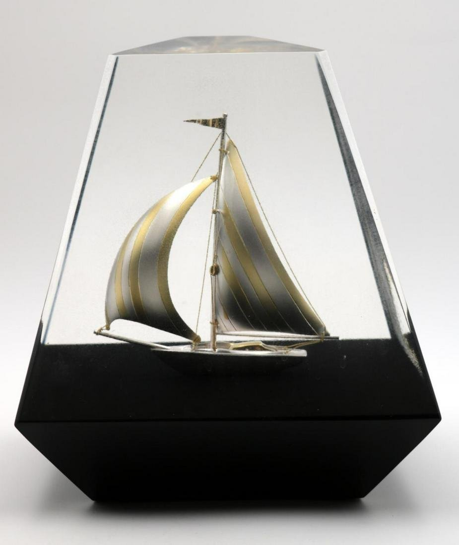 Beautiful Sterling Silver Boat in Lucite Sculpture