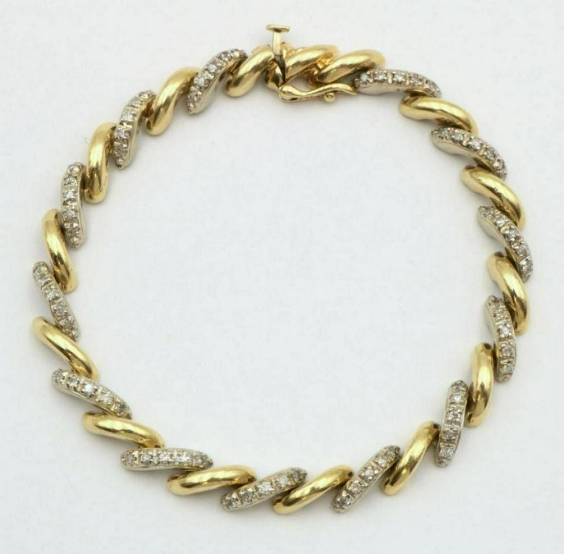 14Kt Two-Tone & Diamond Bracelet