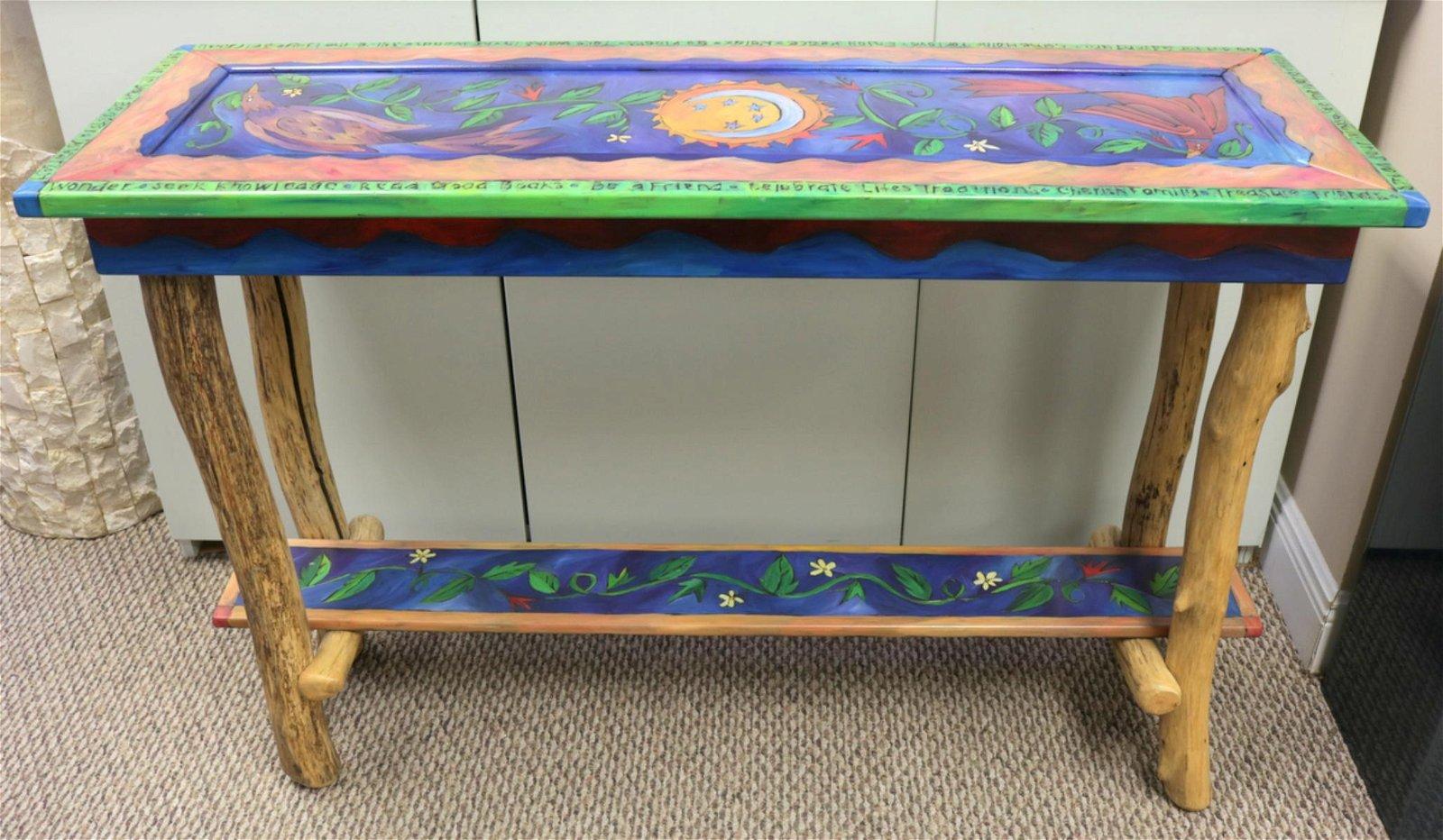 Sticks Hand Painted Folk Art Sofa Table