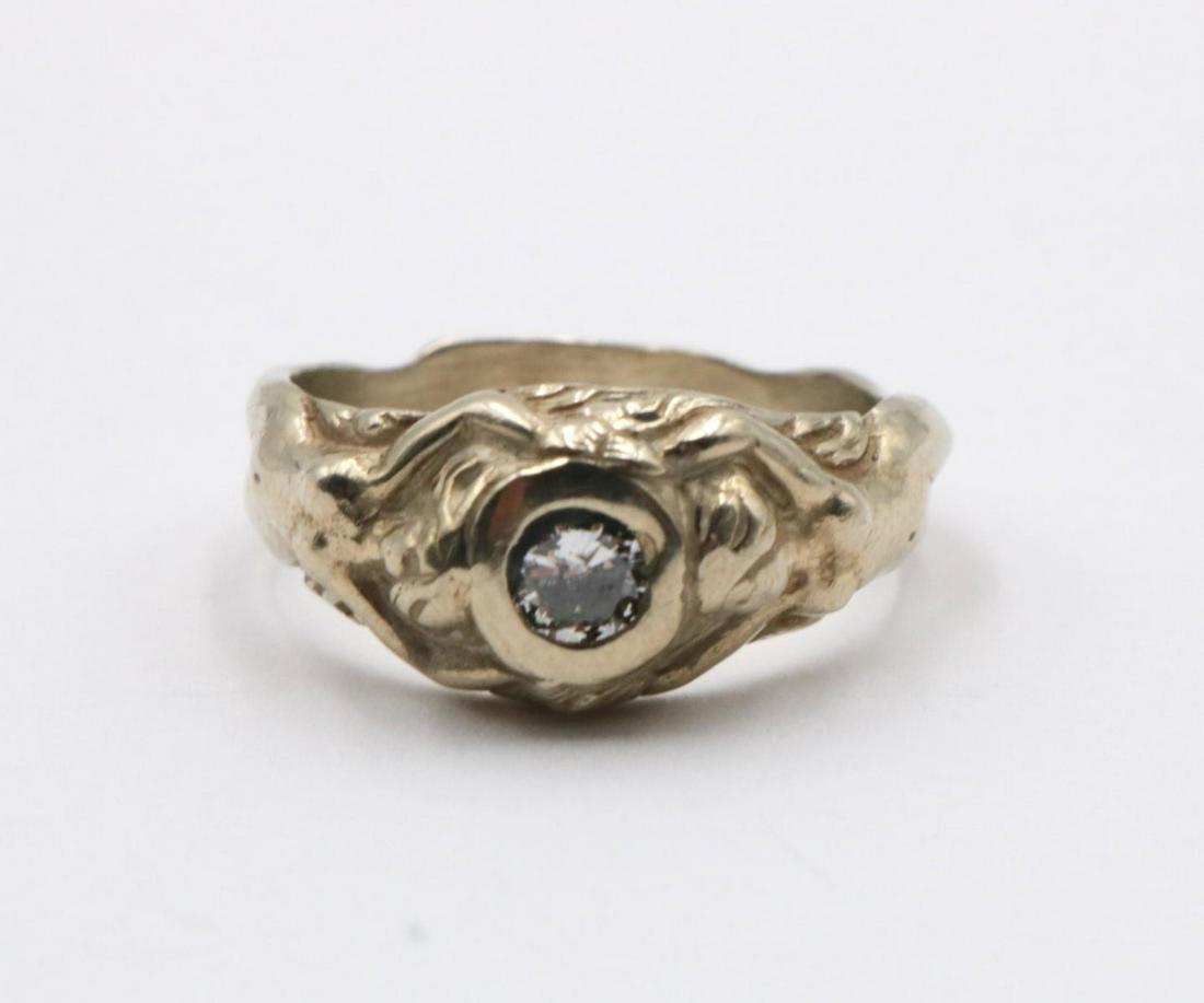 Art Nouveau 14Kt & Diamond Ring