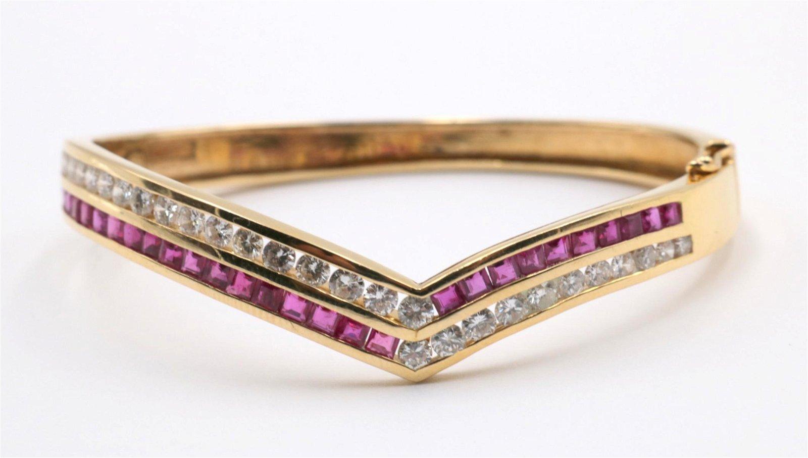 14Kt Ruby & Diamond Bangle