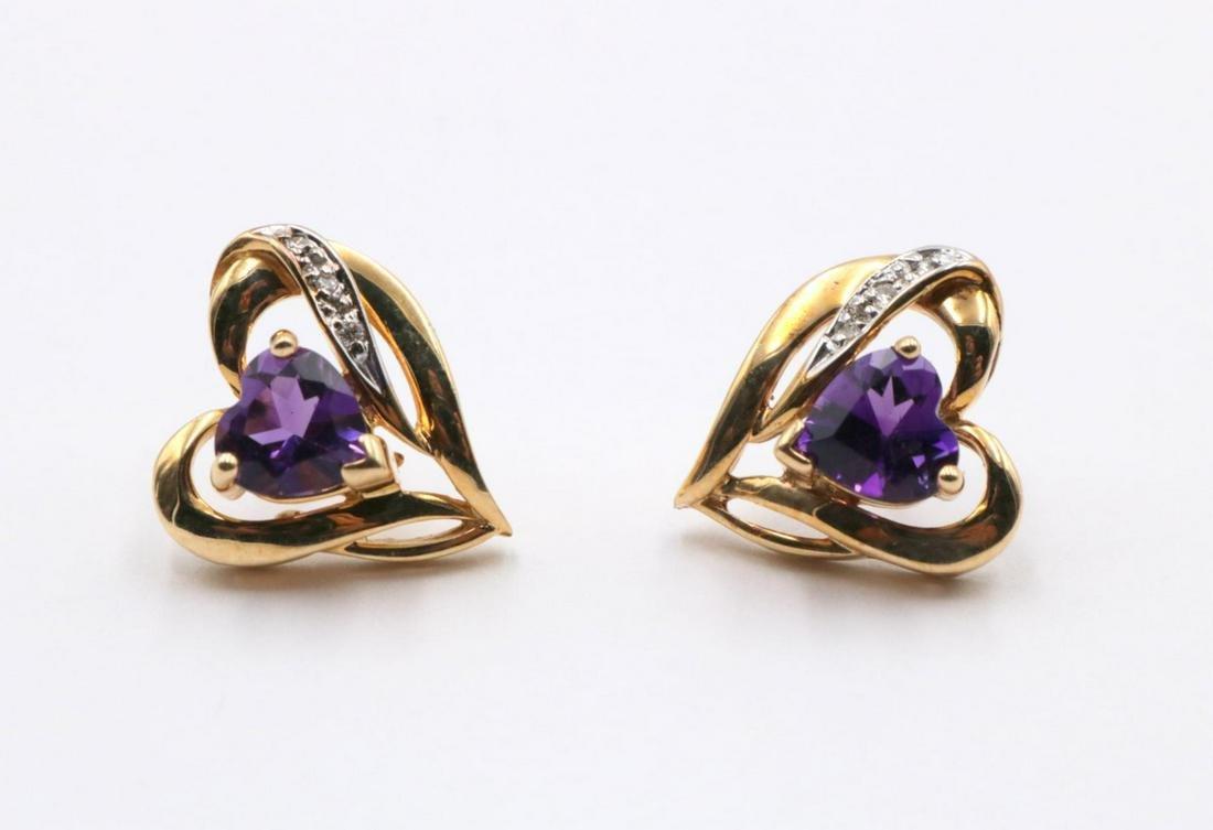 14Kt Amethyst & Diamond Heart Earrings