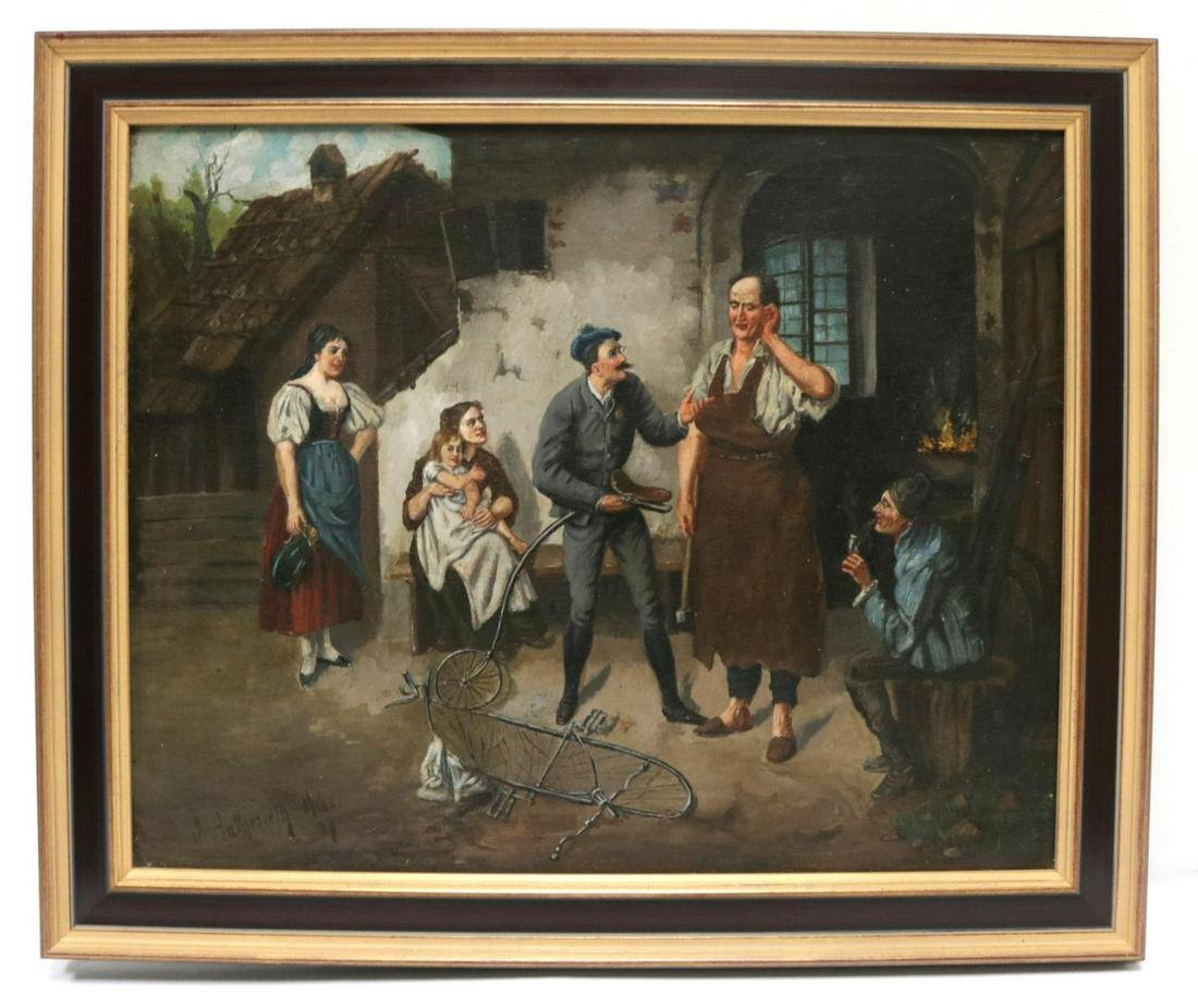19th C. European School Oil Painting on Canvas