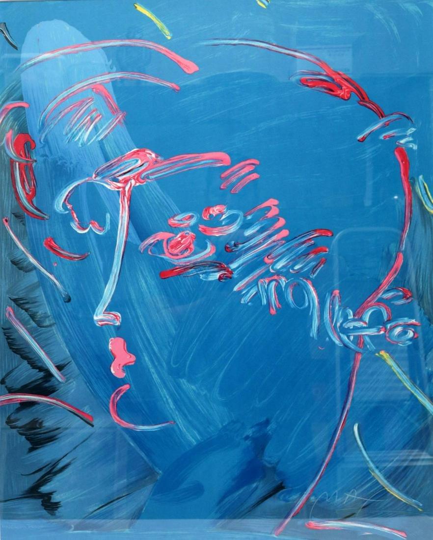 "Peter Max ""Blue Profile"" Lithograph"