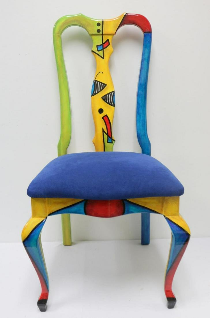Whimsical Signed Mita Colorful Chair